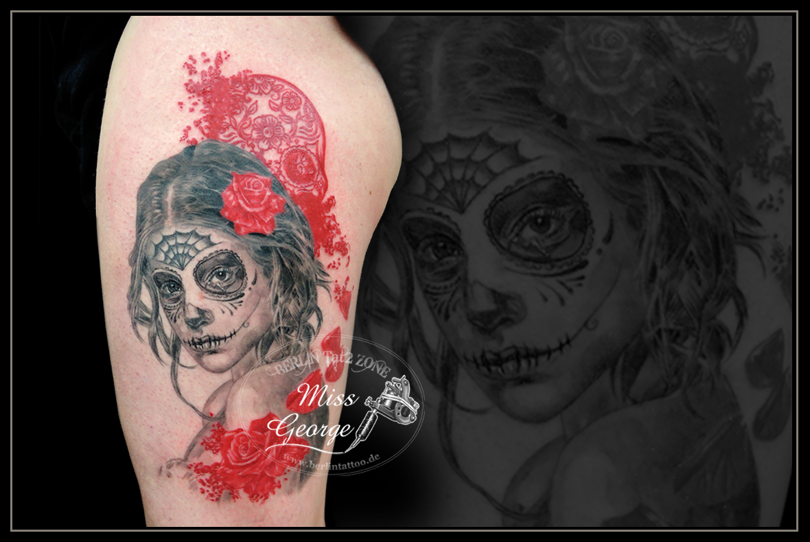 Catrina Tattoo auf Oberschenkel by Miss George Berlin Tattoo Zone