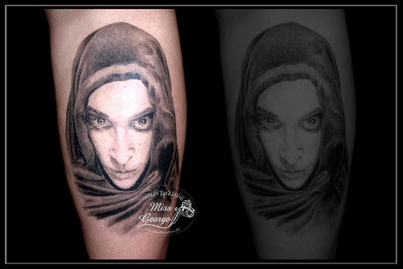 tattoo portrait diamanda galas auf wade miss george berlin tattoo zone