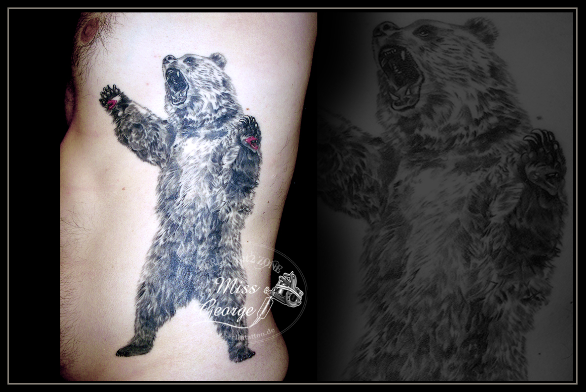 Tattoo Realistic Bear Rippen. Berlin Tat2 Zone