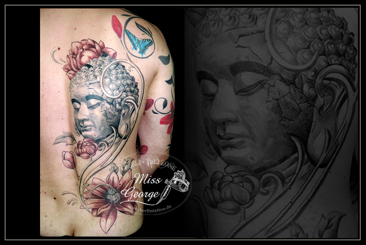 Tattoo Buddha und weinroter Lotus Backpiece. Miss George Berlin Tat2 Zone
