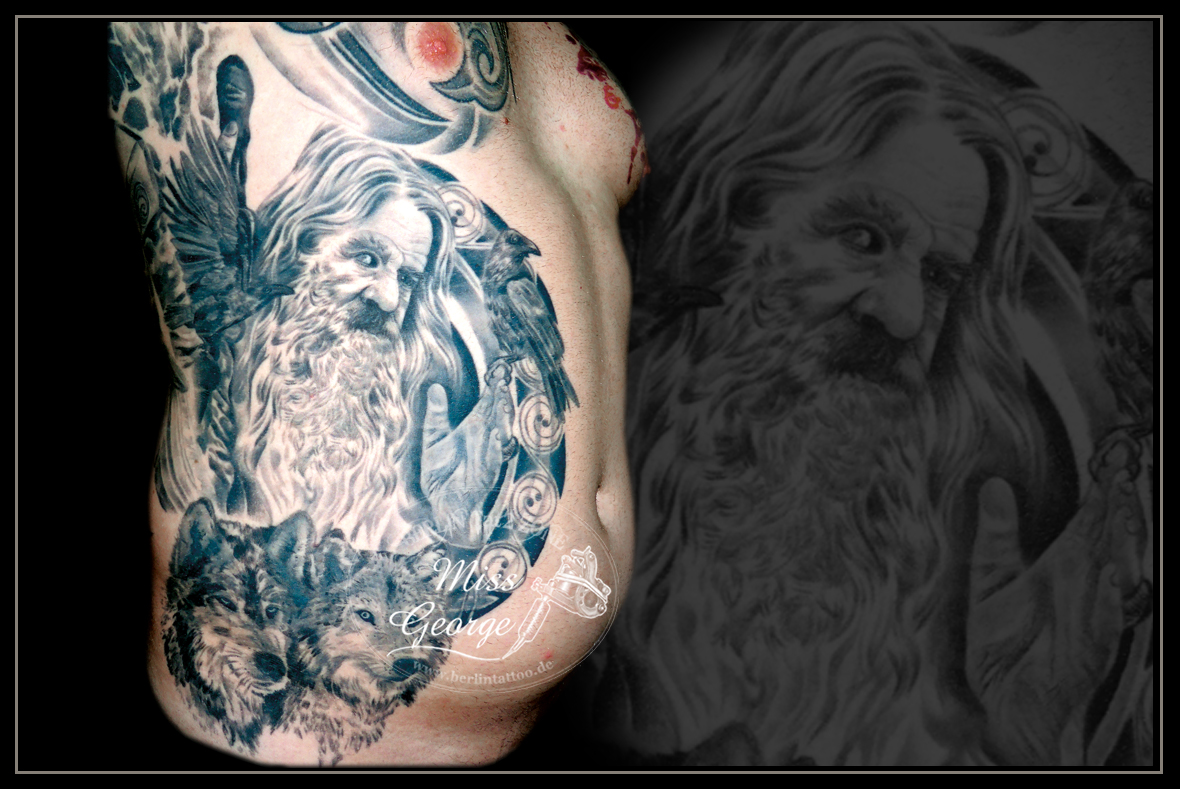Tattoo Odin Wolves Black&White Rippen Miss George Berlin Tat2 Zone