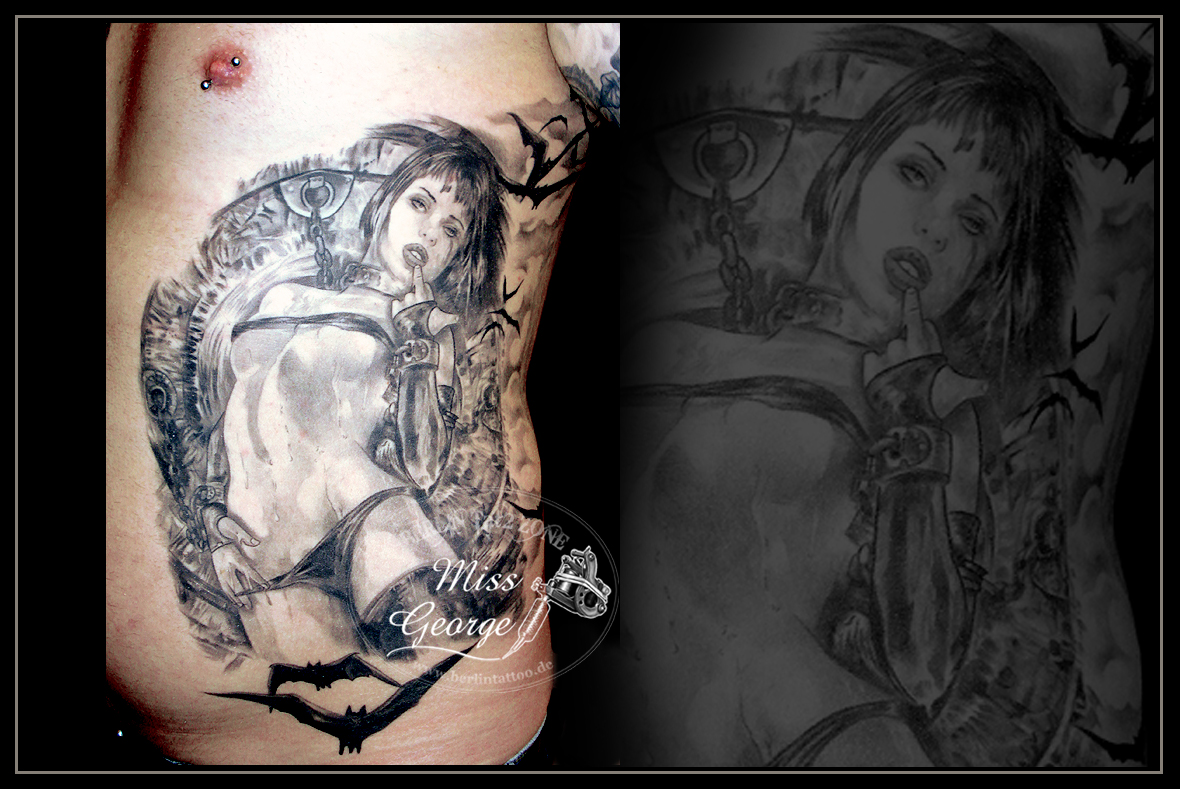 Tattoo Frau Royo auf Rippen Miss George Berlin Tat2 Zone