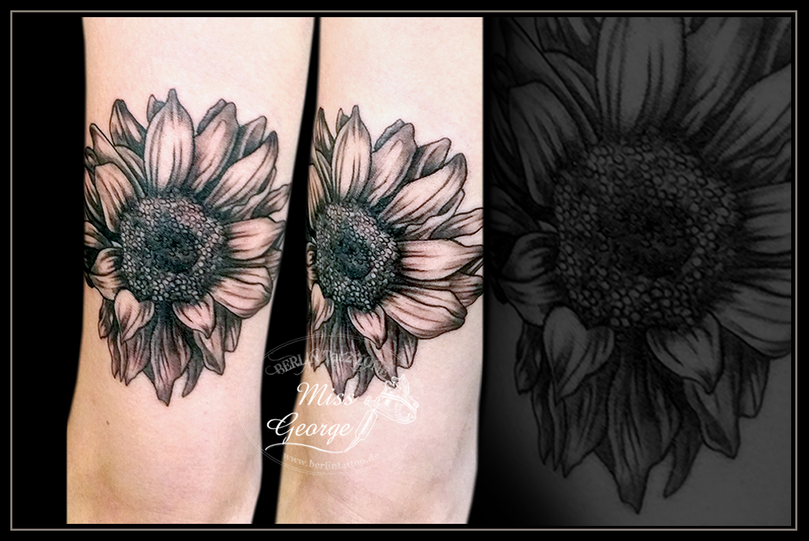Tattoo Sonnenblume Black&Grey